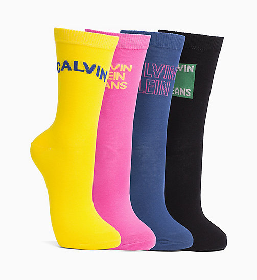 CALVIN KLEIN JEANS 4 Pack Logo Socks Gift Box - NAVY PEONY/BLACK/YELLOW/SHOCKING PINK - CALVIN KLEIN JEANS UNDERWEAR - detail image 1