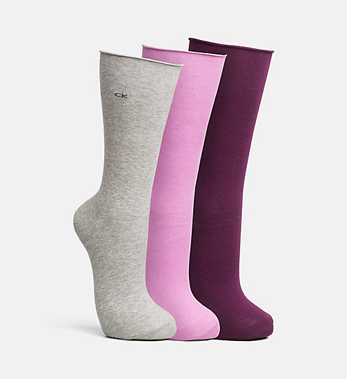 CALVINKLEIN 3 Pack Roll Top Crew Socks - ASST.C10 - CALVIN KLEIN SHOES & ACCESORIES - main image