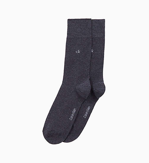 CALVINKLEIN 2 Pack Crew Socks - GRAPHITE HEATHER - CALVIN KLEIN UNDERWEAR - main image