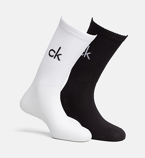 CALVIN KLEIN 2 Pack Logo Crew Socks - BLACK AND WHITE - CALVIN KLEIN UNDERWEAR - detail image 1