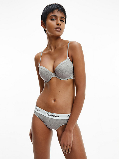 CALVINKLEIN Thong - Modern Cotton - GREY HEATHER - CALVIN KLEIN KNICKERS - detail image 1