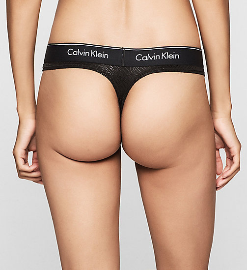 CALVINKLEIN Thong - Modern Cotton - CHEVRON OUTLINE LOGO (BLACK W - CALVIN KLEIN KNICKERS - detail image 1