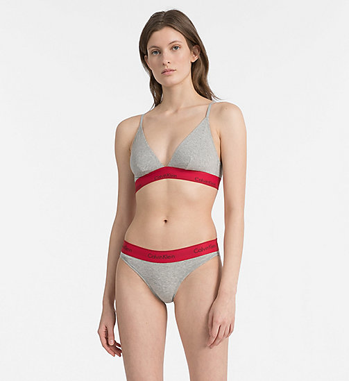 CALVIN KLEIN Bikini Brief - Modern Cotton - GREY HEATHER W/ MANIC RED WB -  NEW FOR WOMEN - detail image 1