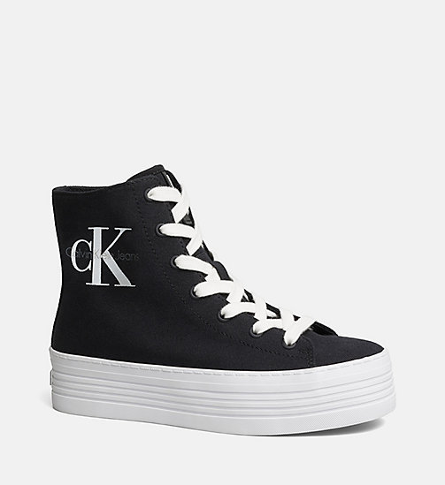 CALVIN KLEIN JEANS Canvas High-Top Sneakers - BLACK/BLACK - CALVIN KLEIN JEANS SHOES - main image