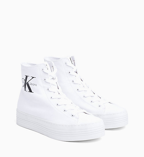 CALVIN KLEIN JEANS Canvas High-Top Sneakers - BLACK/WHITE - CALVIN KLEIN JEANS TRAINERS - detail image 1