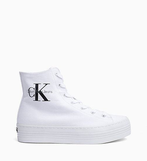 CALVIN KLEIN JEANS Canvas High-Top Sneakers - BLACK/WHITE - CALVIN KLEIN JEANS TRAINERS - main image