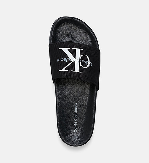 CALVIN KLEIN JEANS Canvas Sliders - BLACK/BLACK - CALVIN KLEIN JEANS SLIDERS - detail image 1