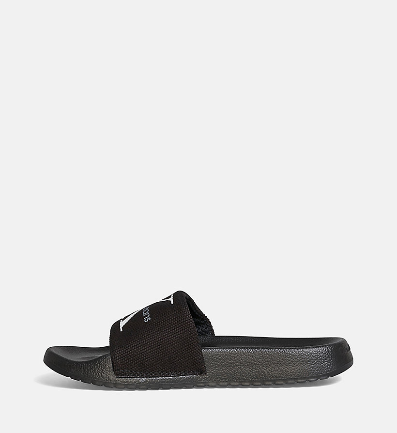 CALVIN KLEIN JEANS Canvas Sliders - BLACK/CHAMBRAY - CALVIN KLEIN JEANS WOMEN - detail image 2