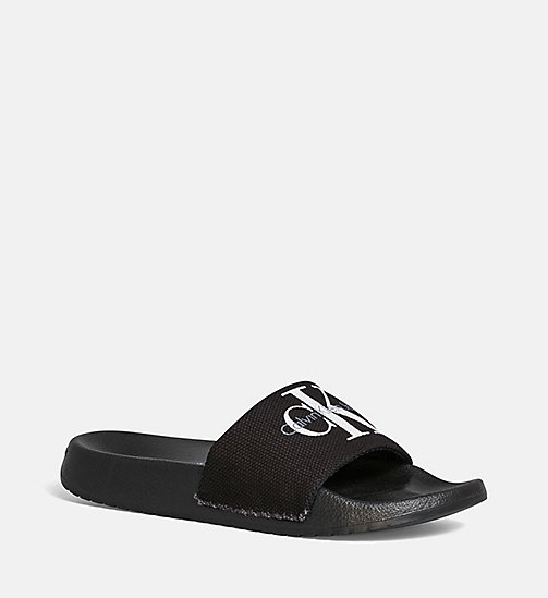 CALVIN KLEIN JEANS Canvas Sliders - BLACK/BLACK - CALVIN KLEIN JEANS SLIDERS - main image