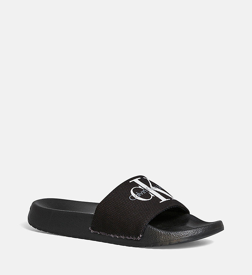 CALVIN KLEIN JEANS Canvas Sliders - BLACK/CHAMBRAY - CALVIN KLEIN JEANS WOMEN - main image