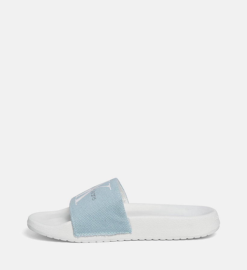 CALVIN KLEIN JEANS Canvas Sliders - WHITE - CALVIN KLEIN JEANS WOMEN - detail image 2