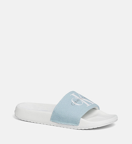 CALVIN KLEIN JEANS Canvas Sliders - BLACK/CHAMBRAY - CALVIN KLEIN JEANS SLIDERS - main image