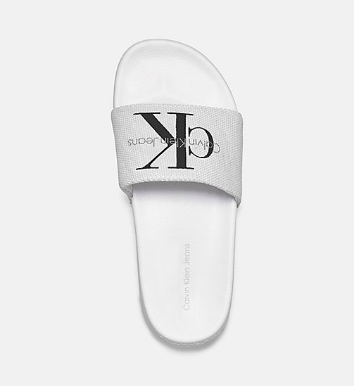 CALVIN KLEIN JEANS Canvas Sliders - WHITE - CALVIN KLEIN JEANS SLIDERS - detail image 1