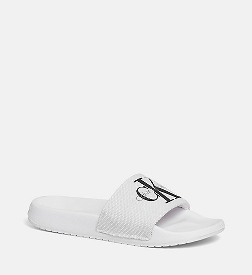 CALVIN KLEIN JEANS Canvas Sliders - WHITE - CALVIN KLEIN JEANS SLIDERS - main image