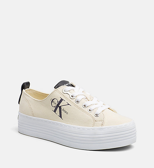 CALVIN KLEIN JEANS Canvas sneakers - NATURAL WHITE - CALVIN KLEIN JEANS LOGO SHOP - main image