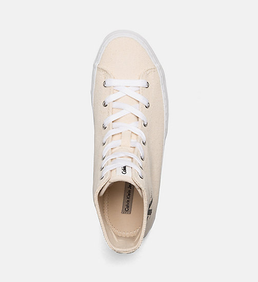 CALVIN KLEIN JEANS Canvas High-Top Sneakers - NATURAL/WHITE - CALVIN KLEIN JEANS SHOES & ACCESORIES - detail image 1