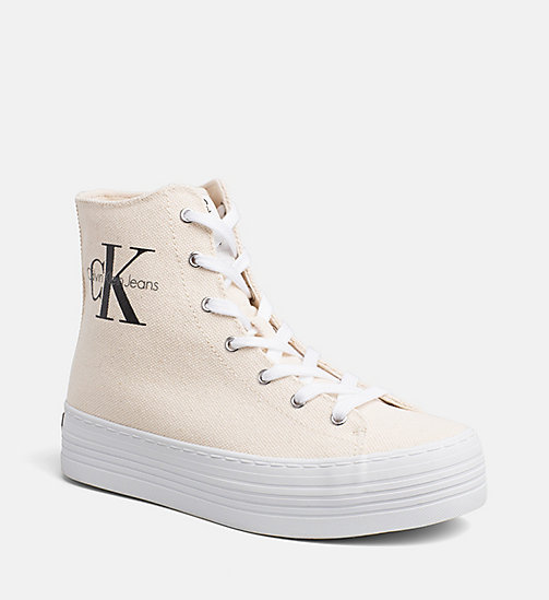 CALVIN KLEIN JEANS Canvas High-Top Sneakers - NATURAL/WHITE - CALVIN KLEIN JEANS SHOES & ACCESORIES - main image