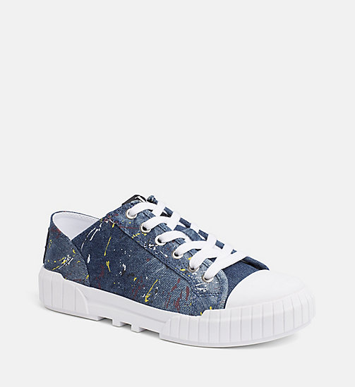 Calvin Klein Jeans Denim Paint Splatter Sneakers Blue Trainers Main