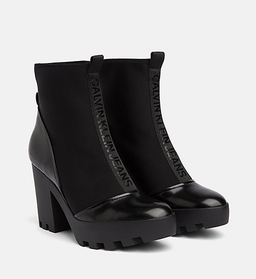 CALVIN KLEIN JEANS Neoprene Heeled Ankle Boots - BLACK - CALVIN KLEIN JEANS BOOTS - detail image 1