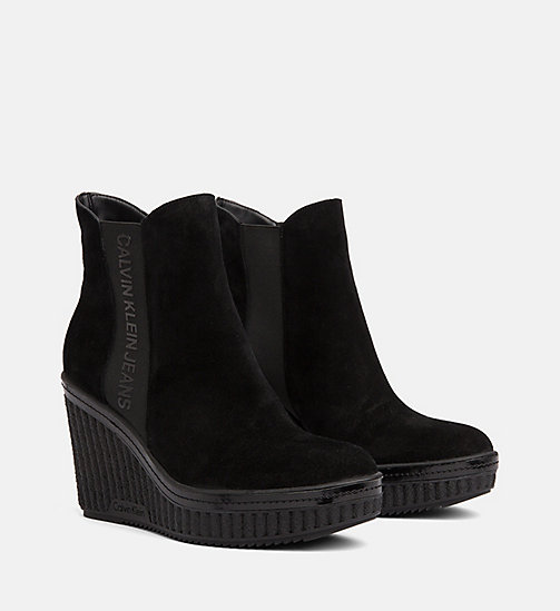 CALVIN KLEIN JEANS Suede Wedge Ankle Boots - BLACK - CALVIN KLEIN JEANS BOOTS - detail image 1