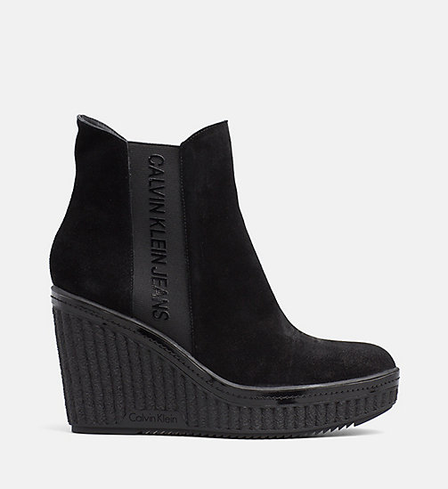CALVIN KLEIN JEANS Suede Wedge Ankle Boots - BLACK - CALVIN KLEIN JEANS BOOTS - main image