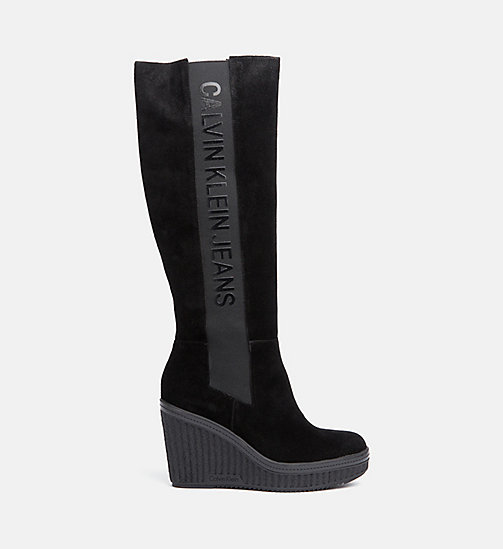 CALVIN KLEIN JEANS Suede Heeled Boots - BLACK - CALVIN KLEIN JEANS BOOTS - main image