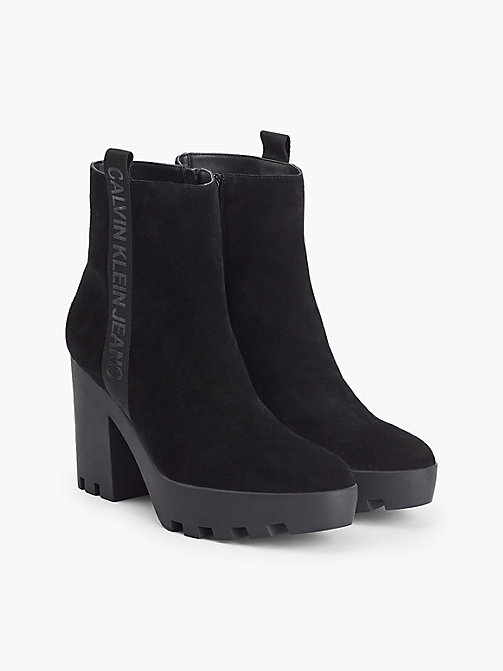CALVIN KLEIN JEANS Suede Heeled Ankle Boots - BLACK - CALVIN KLEIN JEANS BOOTS - detail image 1
