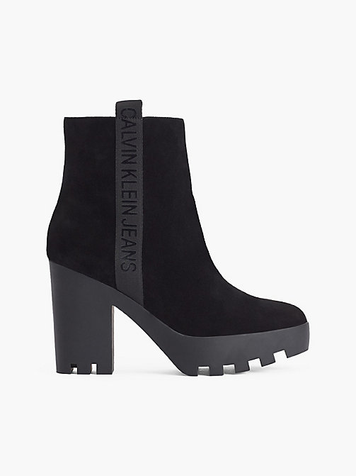 CALVIN KLEIN JEANS Suede Heeled Ankle Boots - BLACK - CALVIN KLEIN JEANS BOOTS - main image