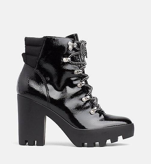 CALVIN KLEIN JEANS Naplack Leather Heeled Ankle Boots - BLACK BLACK - CALVIN KLEIN JEANS BOOTS - main image