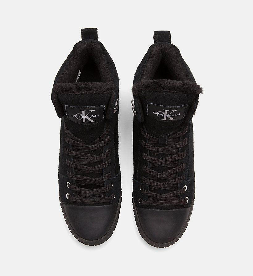 CALVIN KLEIN JEANS Suede High-Top Trainers - OFF WHITE - CALVIN KLEIN JEANS WOMEN - detail image 3