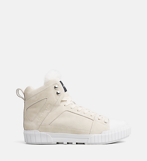 CALVIN KLEIN JEANS Suede High-Top Trainers - OFF WHITE -  TRAINERS - main image