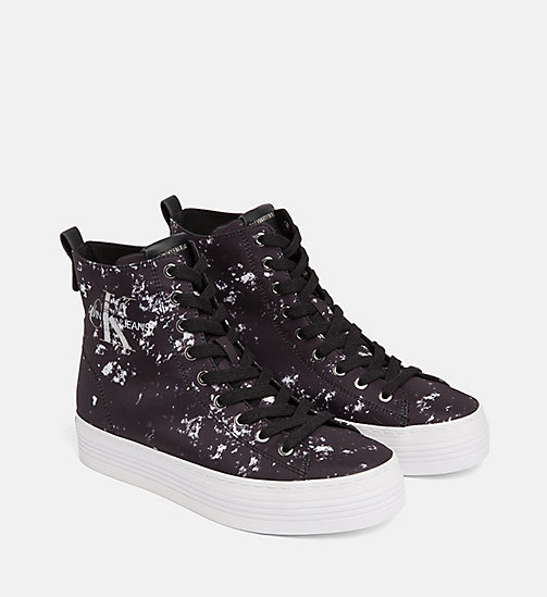 CALVIN KLEIN JEANS Splatter High-Top Sneakers - BLACK - CALVIN KLEIN JEANS TRAINERS - detail image 1