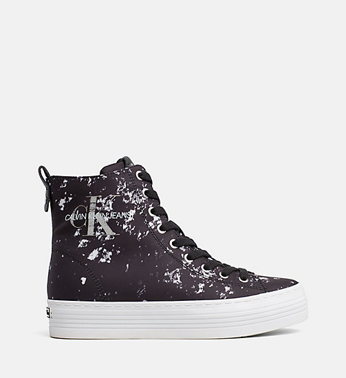 CALVIN KLEIN JEANS Splatter High-Top Sneakers - BLACK - CALVIN KLEIN JEANS LOGO SHOP - main image