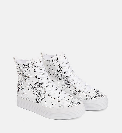 CALVIN KLEIN JEANS Splatter High-Top Sneakers - WHITE - CALVIN KLEIN JEANS TRAINERS - detail image 1