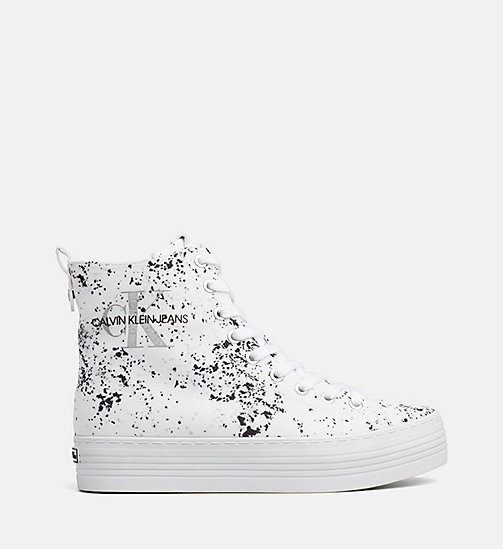 CALVIN KLEIN JEANS Splatter High-Top Sneakers - WHITE - CALVIN KLEIN JEANS TRAINERS - main image