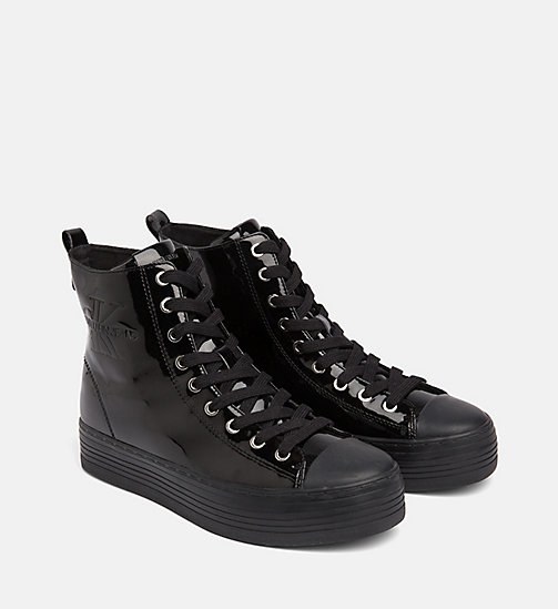 CALVIN KLEIN JEANS Patent High-Top Trainers - BLACK - CALVIN KLEIN JEANS IN THE THICK OF IT FOR HER - detail image 1
