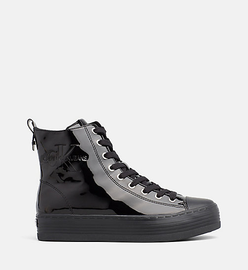 CALVIN KLEIN JEANS Patent High-Top Sneakers - BLACK - CALVIN KLEIN JEANS TRAINERS - main image
