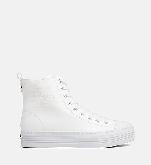CALVIN KLEIN JEANS Lakleren high-top sneakers - WHITE - CALVIN KLEIN JEANS The New Off-Duty - main image