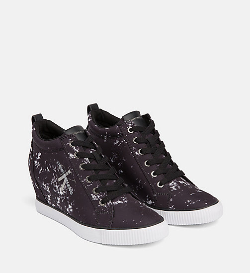 CALVIN KLEIN JEANS Splatter Wedge Sneakers - BLACK -  TRAINERS - detail image 1