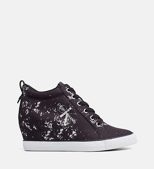 CALVIN KLEIN JEANS Splatter Wedge Sneakers - BLACK -  TRAINERS - main image
