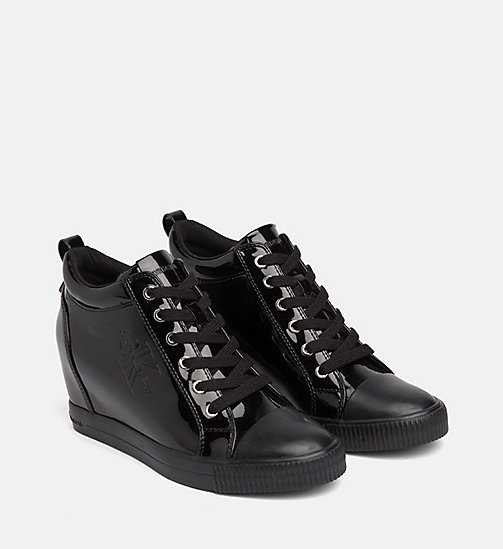 CALVIN KLEIN JEANS Patent Wedge Trainers - BLACK - CALVIN KLEIN JEANS LOGO SHOP - detail image 1