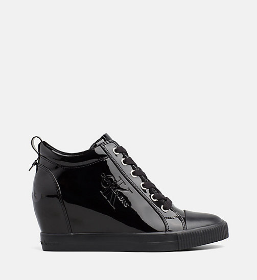 CALVIN KLEIN JEANS Patent Wedge Trainers - BLACK - CALVIN KLEIN JEANS LOGO SHOP - main image