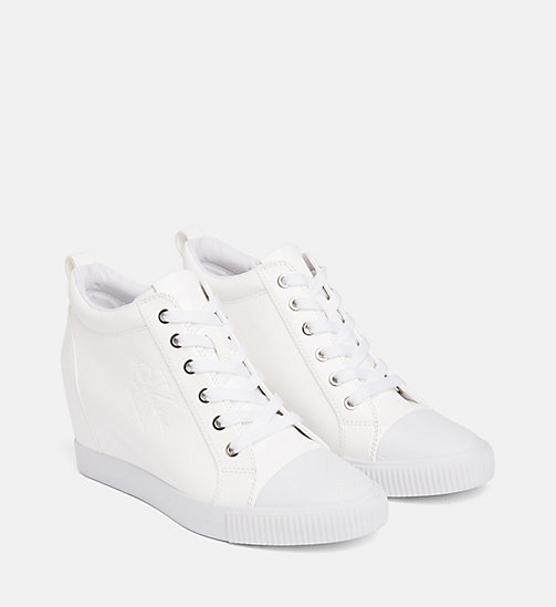 CALVIN KLEIN JEANS Patent Wedge Trainers - WHITE - CALVIN KLEIN JEANS TRAINERS - detail image 1
