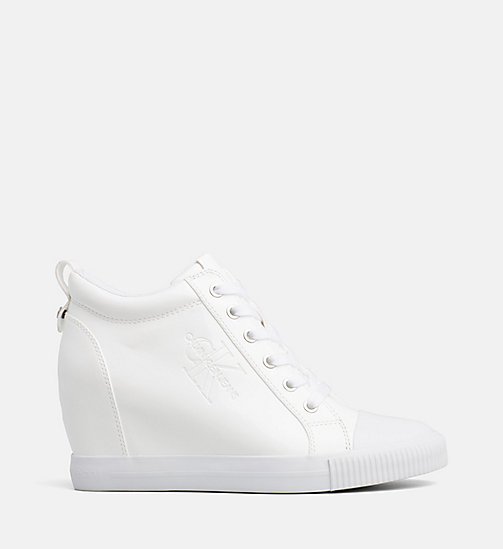 CALVIN KLEIN JEANS Patent Wedge Trainers - WHITE - CALVIN KLEIN JEANS TRAINERS - main image
