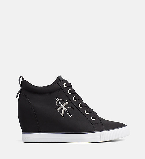 CALVIN KLEIN JEANS Nylon Wedge Trainers - BLACK - CALVIN KLEIN JEANS IN THE THICK OF IT FOR HER - main image