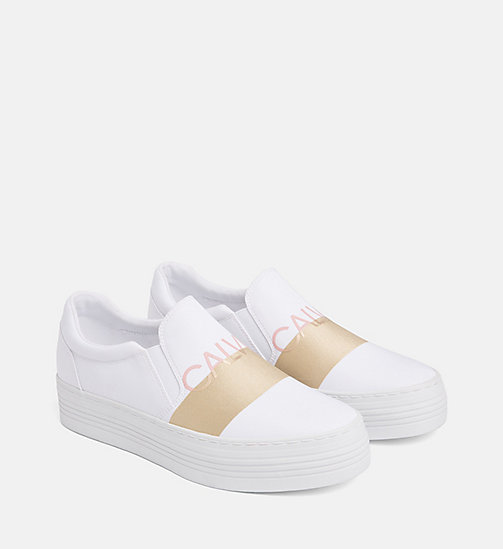 CALVIN KLEIN JEANS Nylon Slip-On Shoes - WHITE/GOLD - CALVIN KLEIN JEANS FLAT SHOES - detail image 1