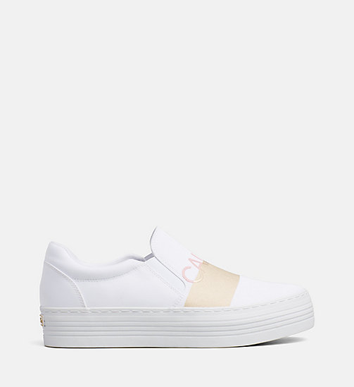 CALVIN KLEIN JEANS Nylon Slip-On Shoes - WHITE/GOLD - CALVIN KLEIN JEANS FLAT SHOES - main image