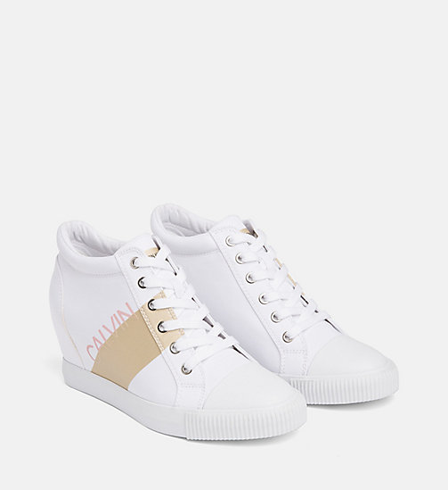 CALVIN KLEIN JEANS Nylon Wedge Sneakers - WHITE/GOLD - CALVIN KLEIN JEANS TRAINERS - detail image 1