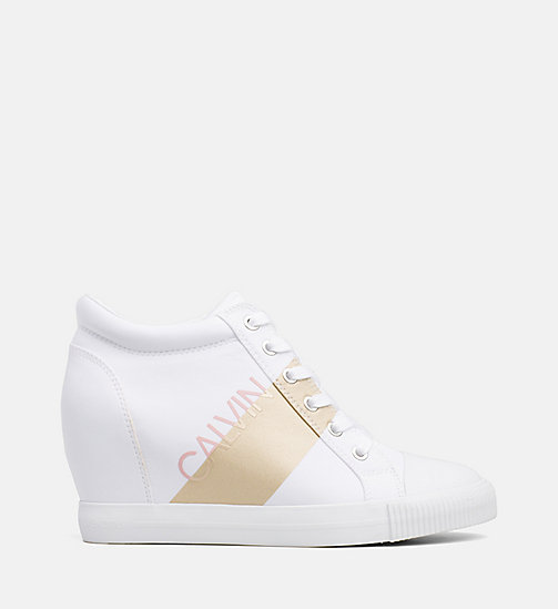 CALVIN KLEIN JEANS Nylon Wedge Sneakers - WHITE/GOLD - CALVIN KLEIN JEANS TRAINERS - main image