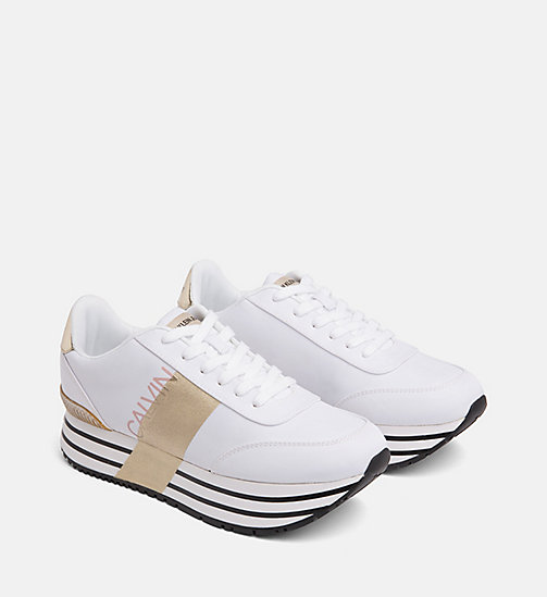 CALVIN KLEIN JEANS Nylon Sneakers - WHITE/GOLD - CALVIN KLEIN JEANS TRAINERS - detail image 1